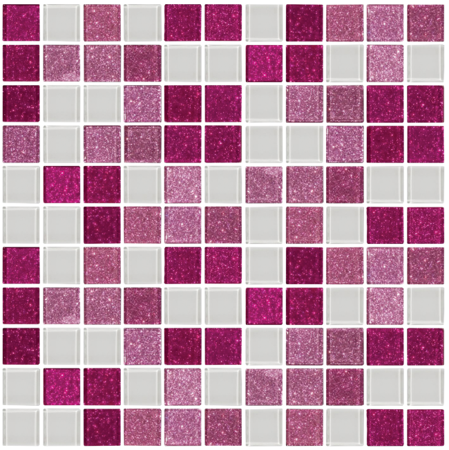 Pink, Raspberry Glitter and White Glass Tile Mix