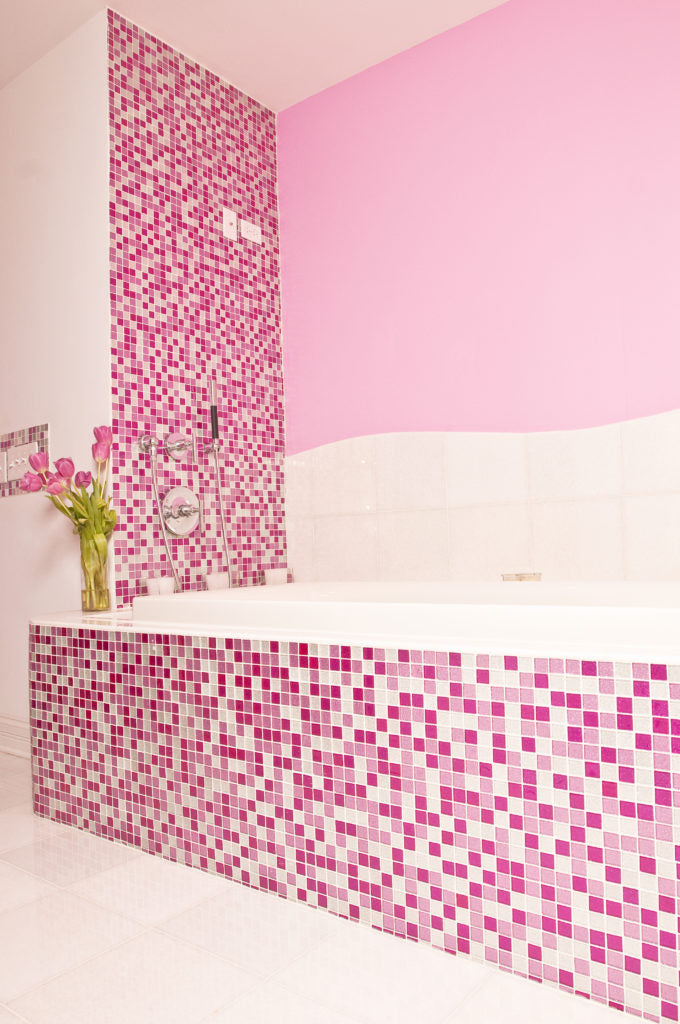 Pink, Raspberry Glitter, And White Glass Tile  Mix