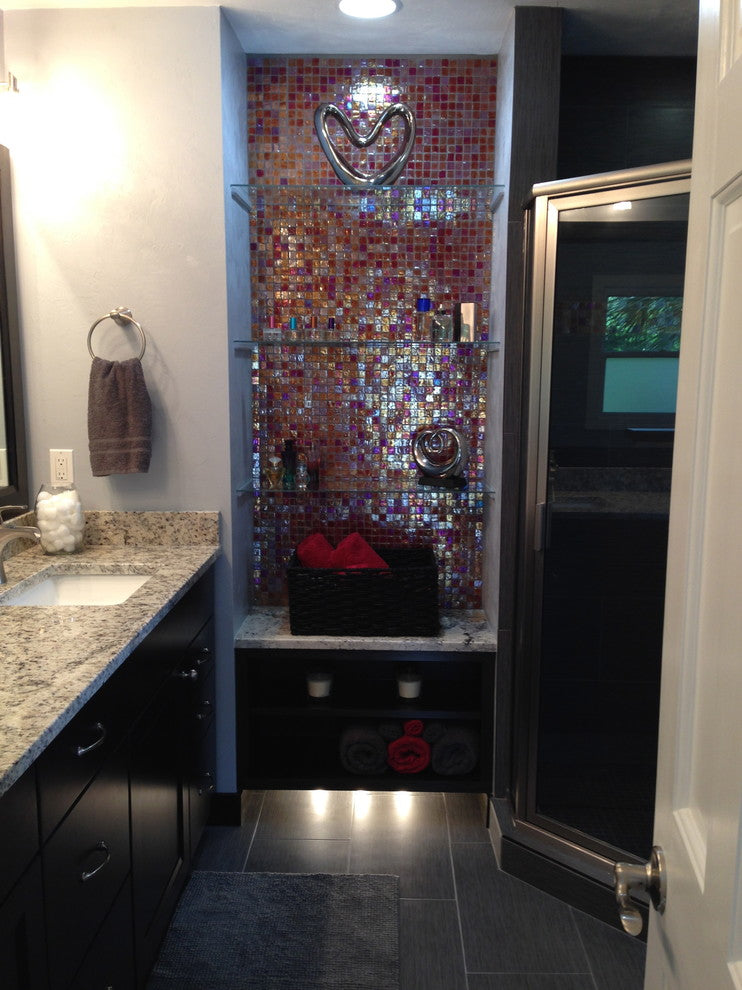1-Inch Red Iridescent Glass Tile