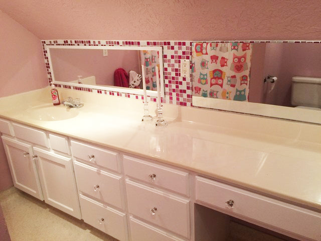 Pink Glitter Glass Tile Bathroom After