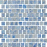 1 INCH LIGHT BLUE IRIDESCENT RECYCLED GLASS TILE OFFSET