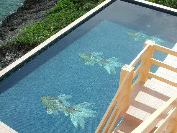 Mosaic Glass Tile Fish Design For Swimming Pool