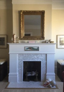 Mother of Pearl Tile Designed Fireplace