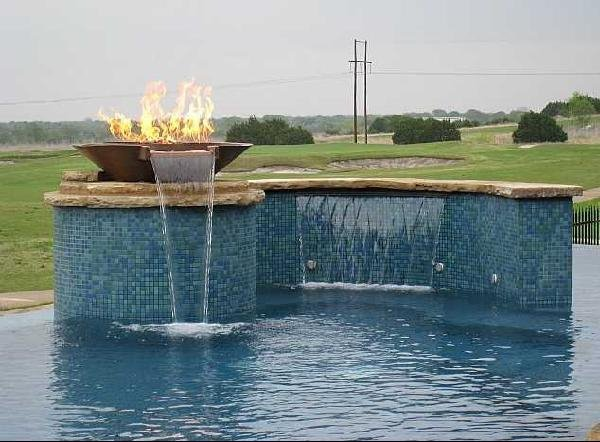 Outdoor Pool and Fountain with Glass Tile