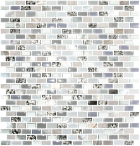 Metallic Gray Glass, Carrera Marble, Mother of Pearl Shell Tile With Lavender Glass Accents