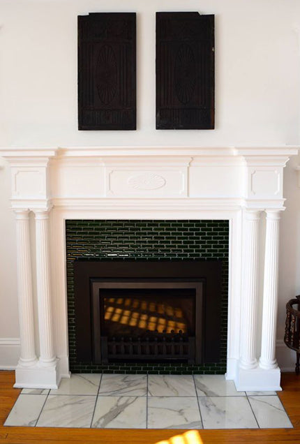 Pine Green Glass Tile Fireplace Design