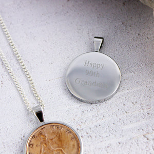 Farthing 90th 1930 Birthday Coin Necklace