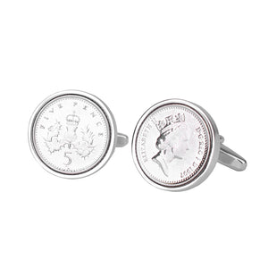 Five Pence (5p) Year Coin Cufflinks 1996 To 2003