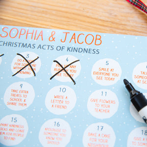 Personalised Kids Kindness Reusable Advent Calendar