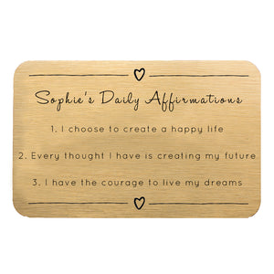 Personalised Daily Affirmations Wallet Keepsake Card