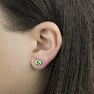 Peridot Sterling Silver Birthstone Crystal Stud Earrings