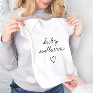 New Baby Personalised Surname Babygrow Vest