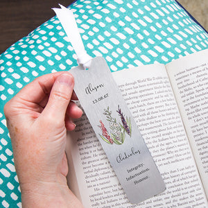 Birth Flower Personalised Water Colour Bookmark