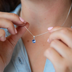 Sapphire Birthstone Sterling Silver Necklace