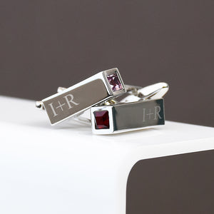 Birthstone Personalised Bar Cufflinks