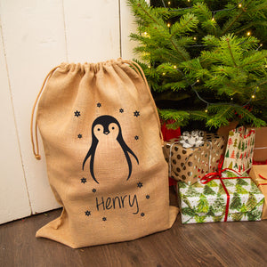 Personalised Christmas Penguin Hessian Sack