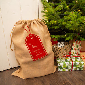 Personalised Swing Tag Christmas Hessian Sack