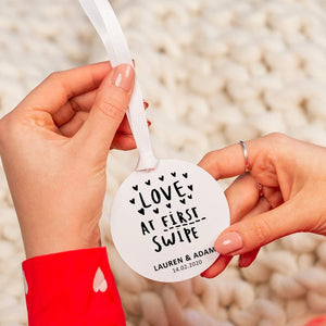 Personalised 'Love At First Swipe' Hanging Decoration