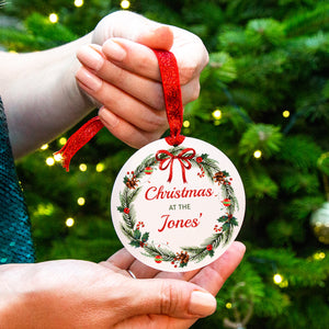 Personalised 'Christmas At' Tree Decoration