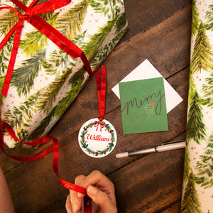 Personalised Christmas Wreath Reusable Gift Tag
