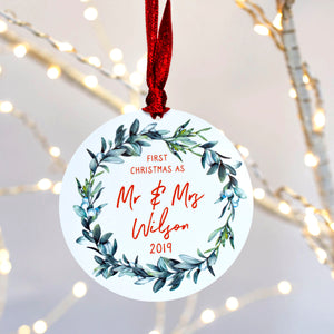 Personalised First Christmas As Mr And Mrs Mistletoe Decoration