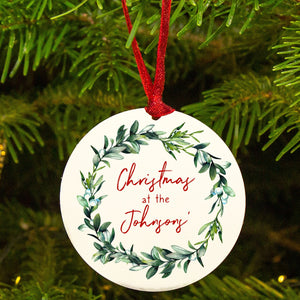 Personalised 'Christmas At' Mistletoe Tree Decoration