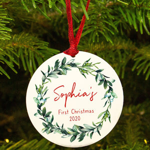 Personalised 'Baby's First Christmas' Mistletoe Tree Decoration