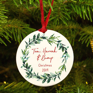 Personalised Mummy Daddy Bump Mistletoe Christmas Decoration