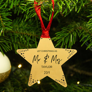 Personalised First Christmas As Mr And Mrs Star Decoration