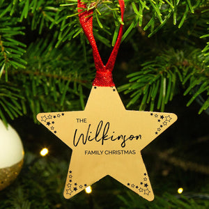 "Personalised ""Family Christmas"" Gold Star Decoration"