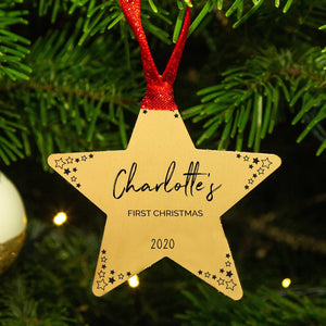 Personalised 'Baby's First Christmas' Star Decoration