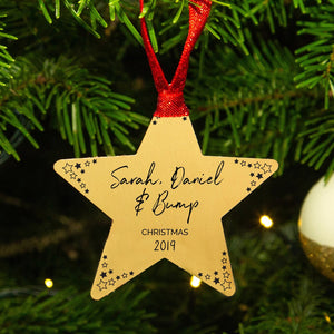 Personalised Mummy Daddy Bump Gold Star Christmas Decoration