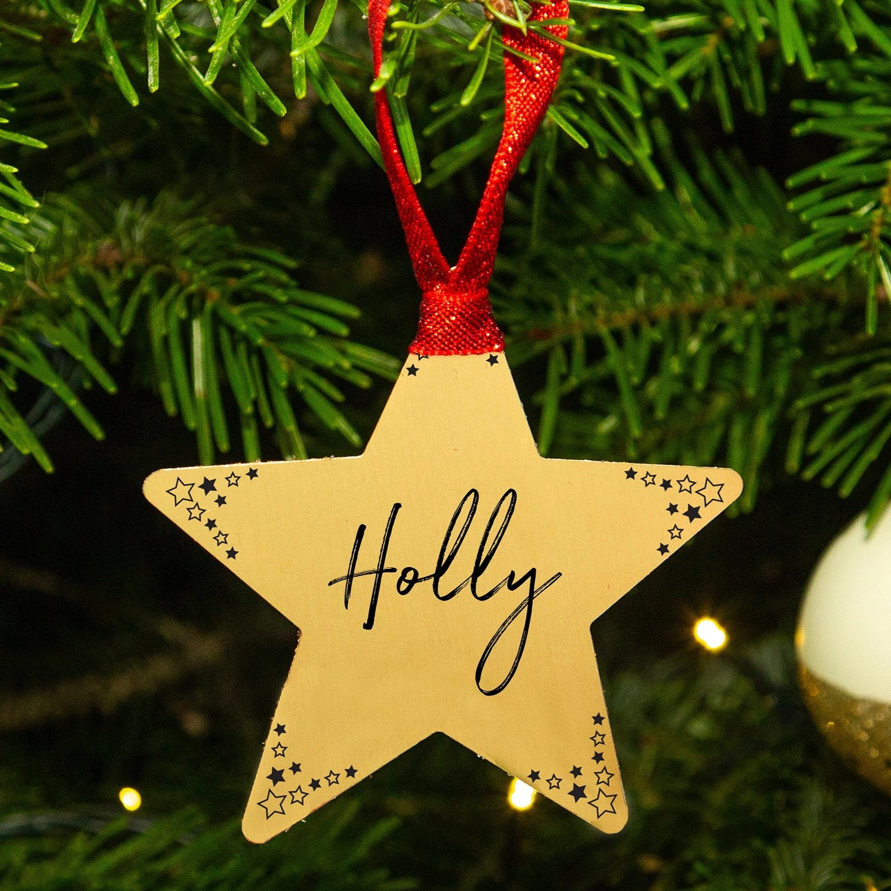 Personalised Name Gold Star Christmas Decoration