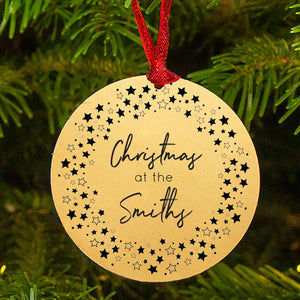 Personalised 'Christmas At' Star Wreath Decoration