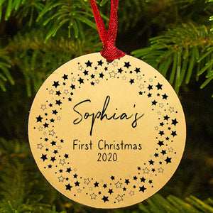 Personalised 'Baby's First Christmas' Star Wreath Decoration