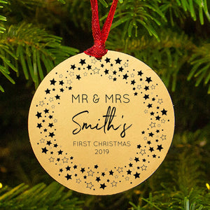 Personalised First Christmas As Mr And Mrs Star Wreath Decoration