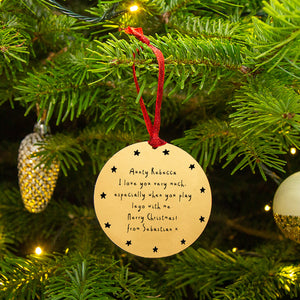 Personalised Message Gold Christmas Decoration