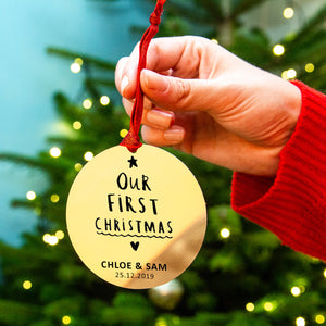 Personalised 'Our First Christmas' Christmas Decoration