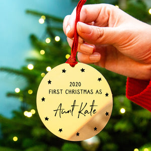 Personalised 'First Christmas As Aunty' Decoration