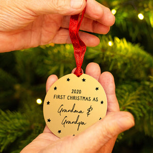 Personalised 'First Christmas As Grandad' Decoration