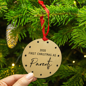Personalised 'First Christmas As Mummy And Daddy' Christmas Tree Decoration