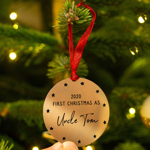 Personalised 'First Christmas As Uncle' Decoration