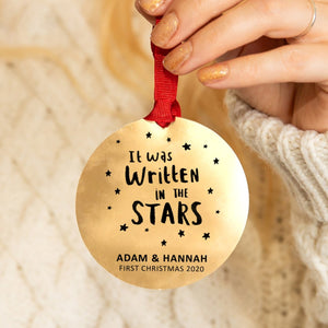 Personalised Written In The Stars Christmas Decoration