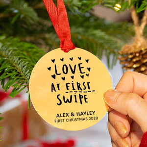 Personalised 'Love At First Swipe' Christmas Decoration