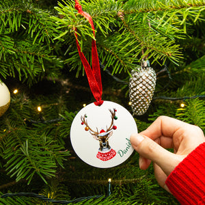 Personalised Christmas Reindeer Tree Decoration