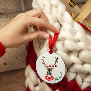 Personalised Reindeer Christmas Stocking / Sack Tag