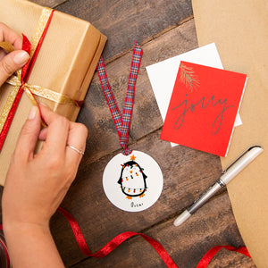 Personalised Penguin Christmas Reusable Gift Tag
