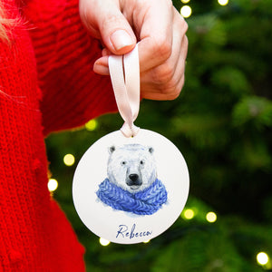 Personalised Christmas Polar Bear Christmas Decoration