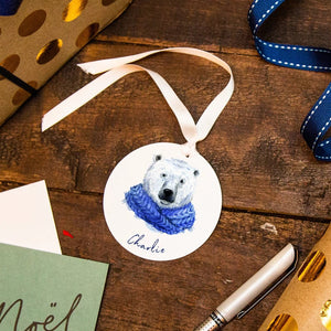 Personalised Christmas Polar Bear Reusable Gift Tag