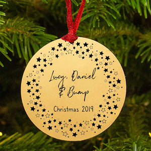 Personalised Mummy Daddy Bump Star Wreath Christmas Decoration